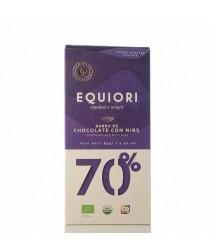 Chocolate Orgánico 70% con Nibs de Cacao Equiori 83g